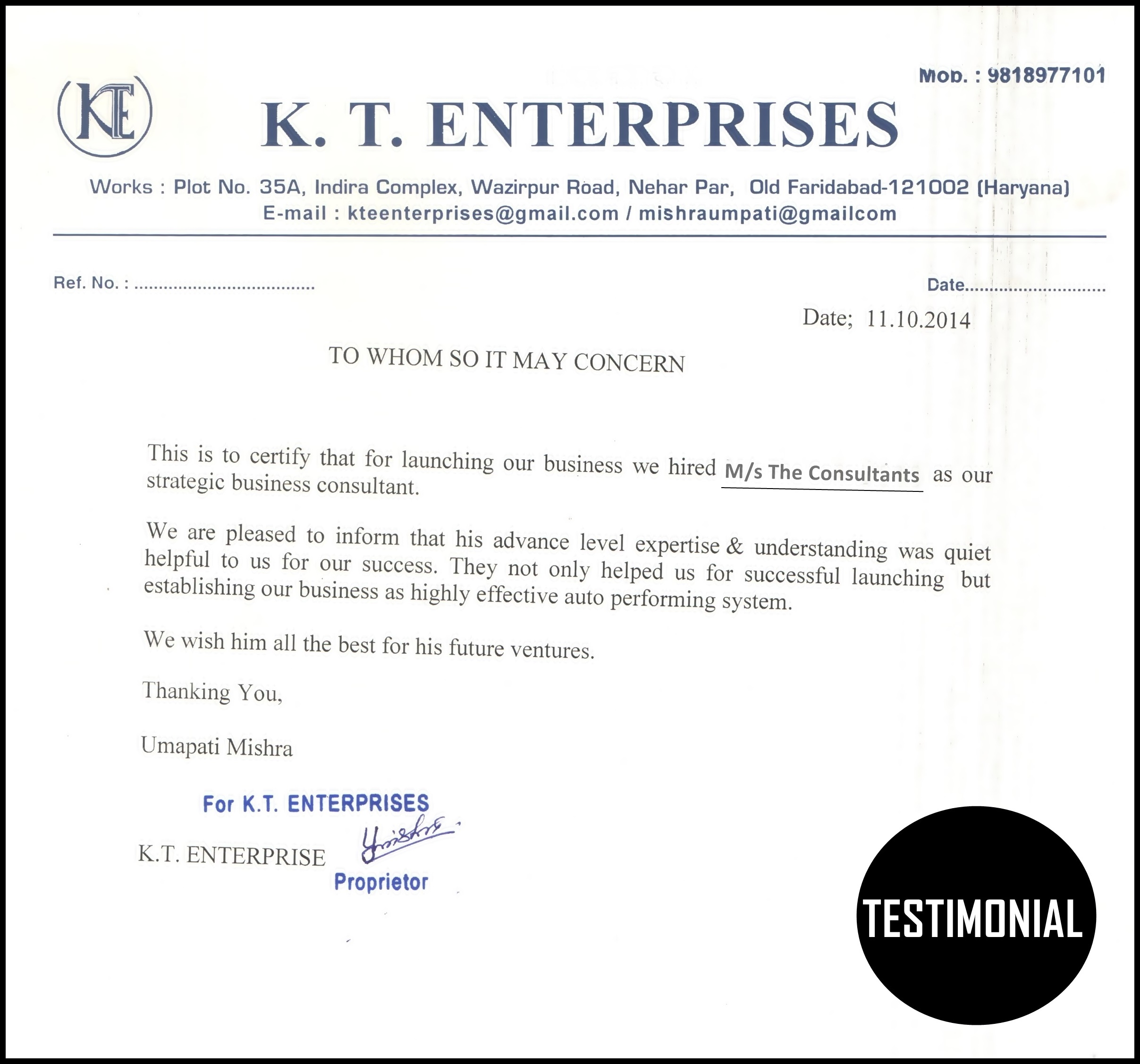 TESTIMONIAL THE CONSULTANTS